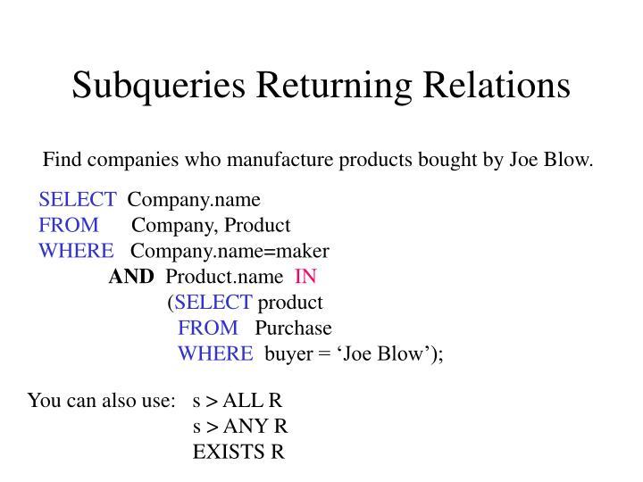 Subqueries Returning Relations
