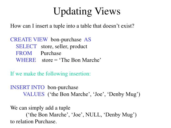 Updating Views