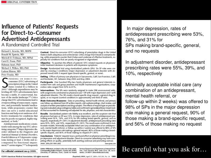 In major depression, rates of antidepressant prescribing were 53%, 76%, and 31% for