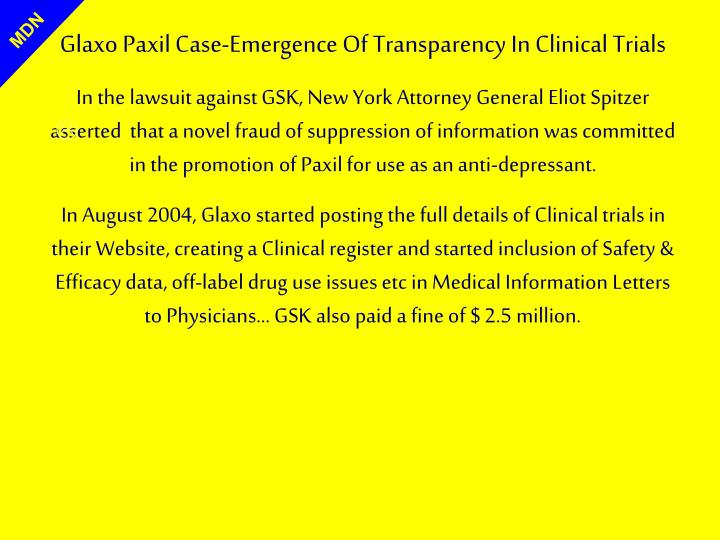 Glaxo Paxil Case-Emergence Of Transparency In Clinical Trials