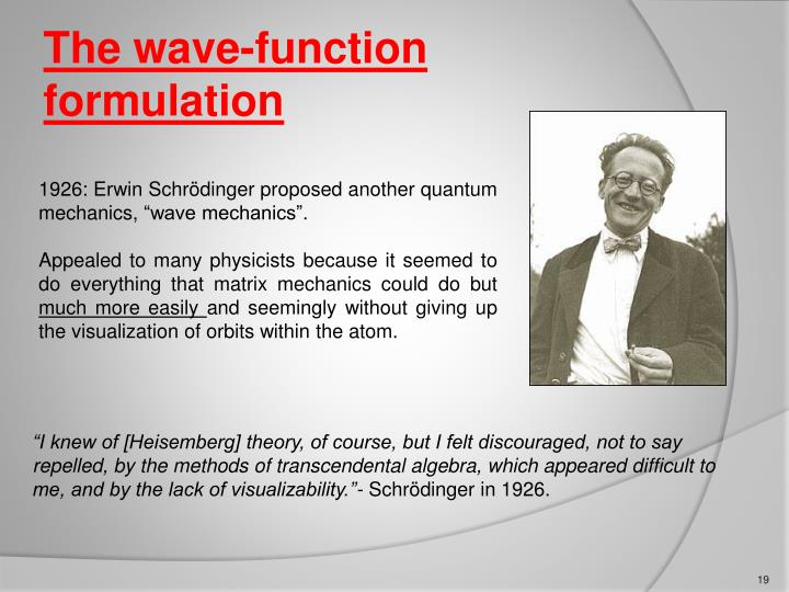 The wave-function formulation