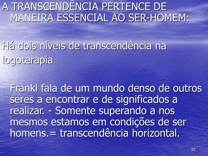 A TRANSCENDÊNCIA PERTENCE DE MANEIRA ESSENCIAL AO SER-HOMEM: