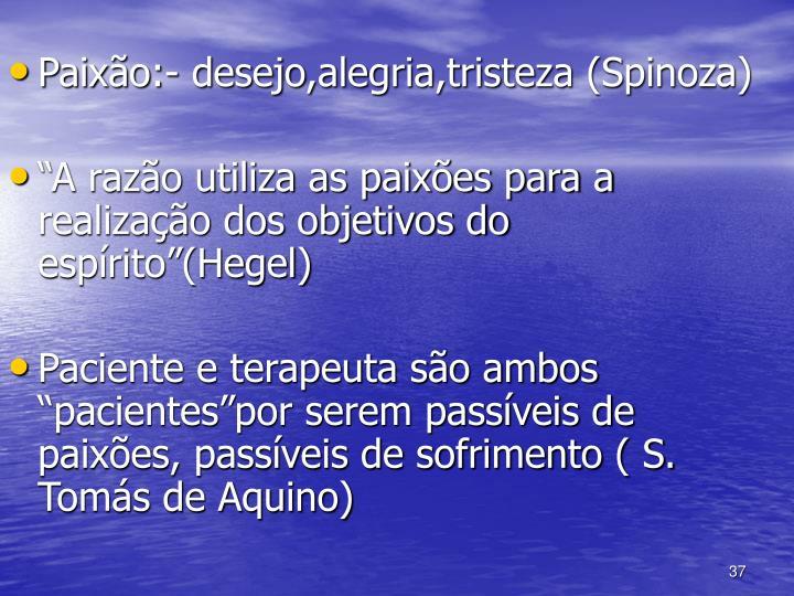 Paixão:- desejo,alegria,tristeza (Spinoza)