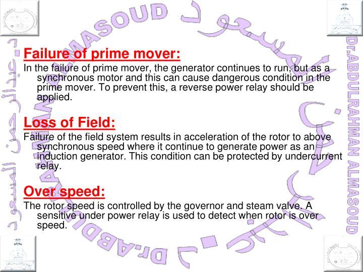 Failure of prime mover: