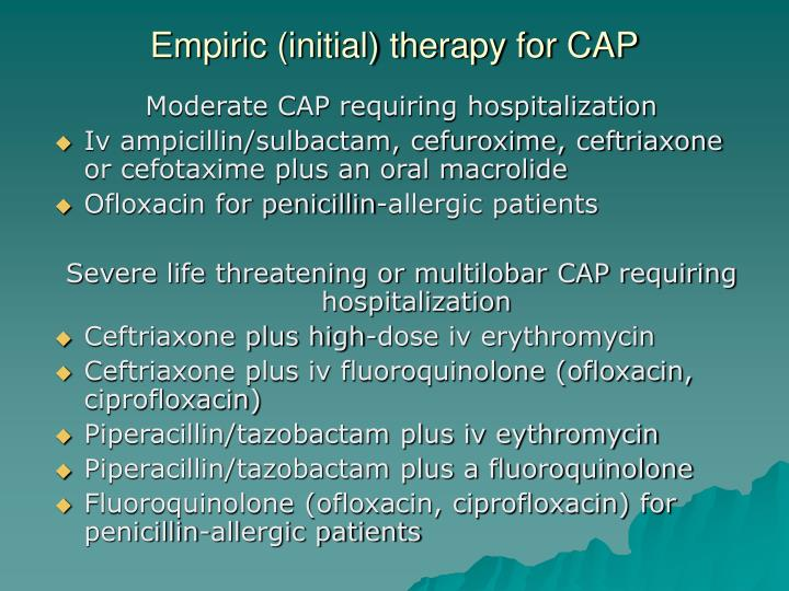 Empiric (initial) therapy for CAP
