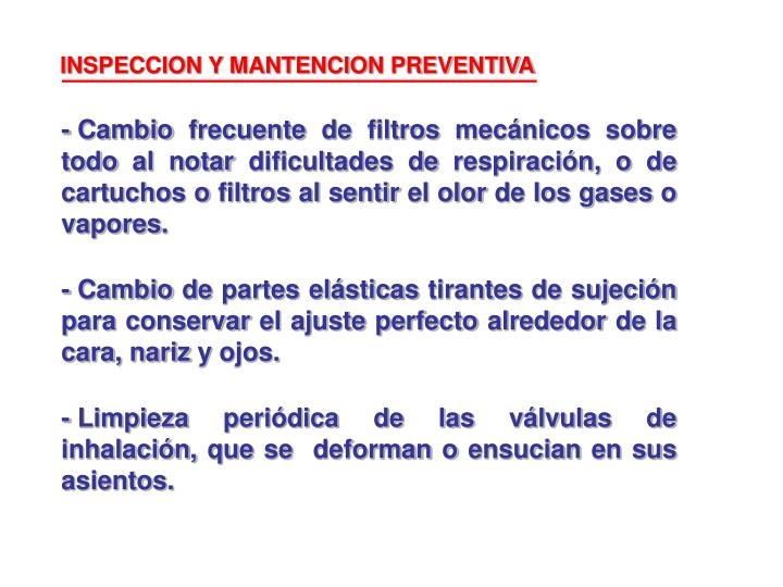 INSPECCION Y MANTENCION PREVENTIVA