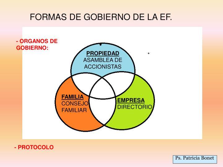 FORMAS DE GOBIERNO DE LA EF.