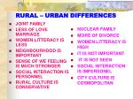 rural urban differences