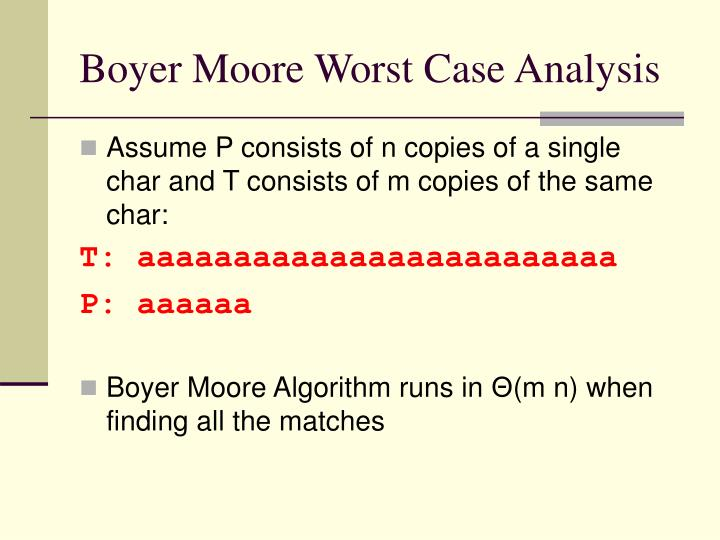 Boyer Moore Worst Case Analysis