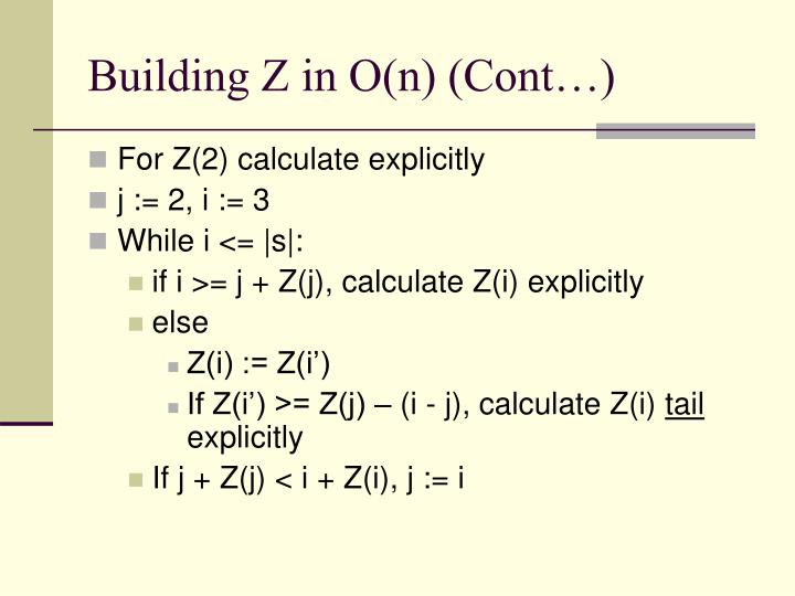Building Z in O(n) (Cont…)