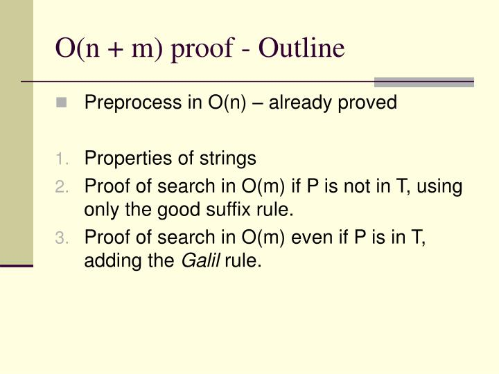O(n + m) proof - Outline
