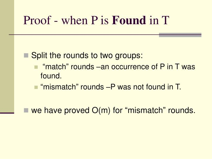 Proof - when P is