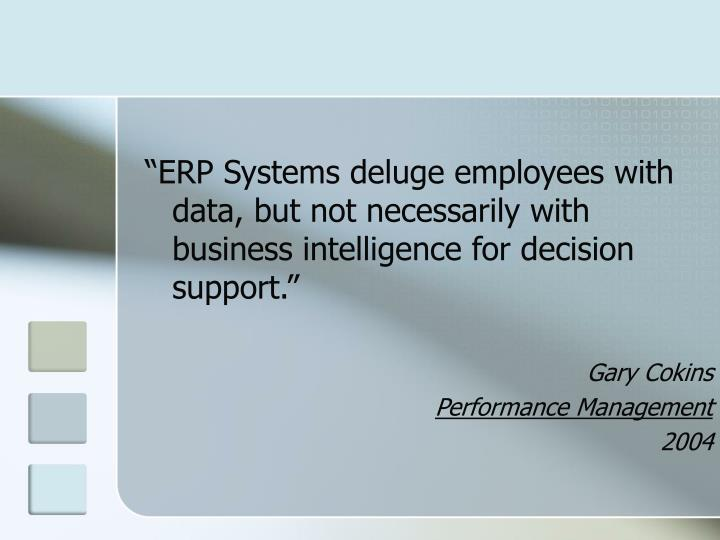 """""""ERP Systems deluge employees with data, but not necessarily with business intelligence for decision support."""""""