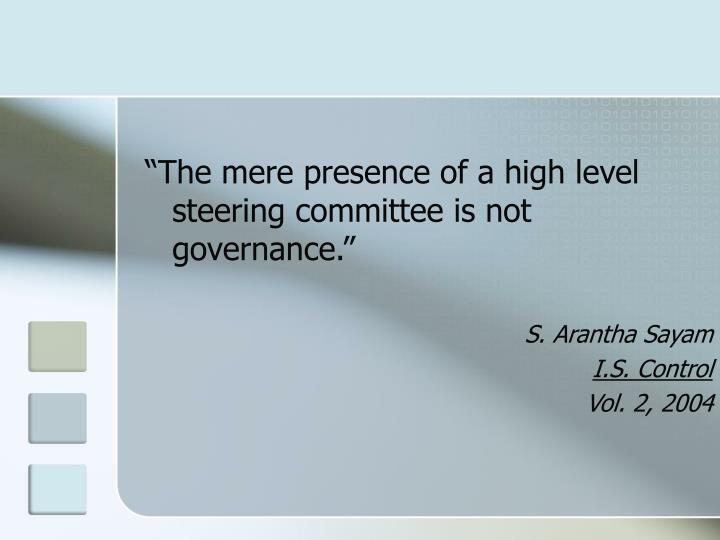 """""""The mere presence of a high level steering committee is not governance."""""""