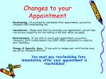 changes to your appointment