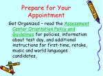 prepare for your appointment