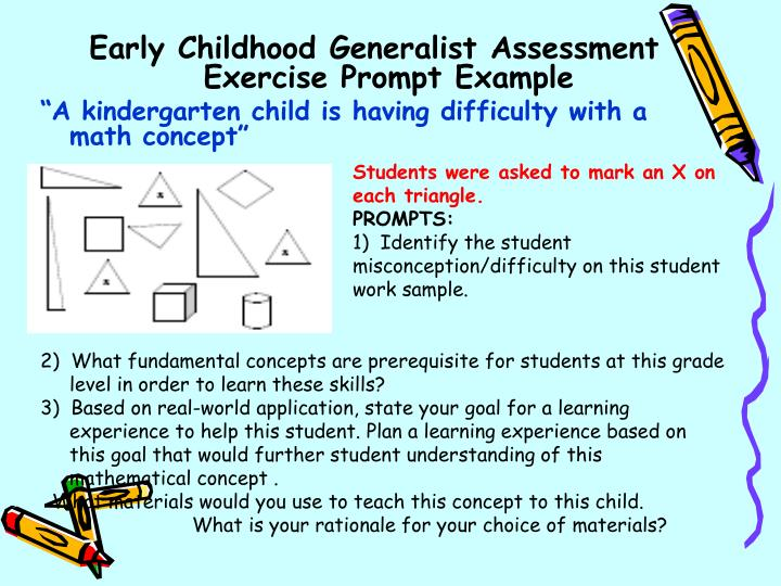 Early Childhood Generalist Assessment Exercise Prompt Example