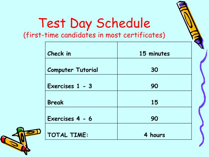 Test Day Schedule