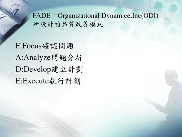 FADE—Organizational Dynamice,Inc(ODI)
