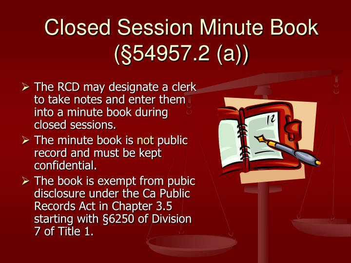 Closed Session Minute Book (