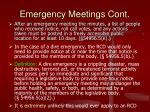 emergency meetings cont