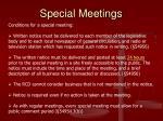 special meetings