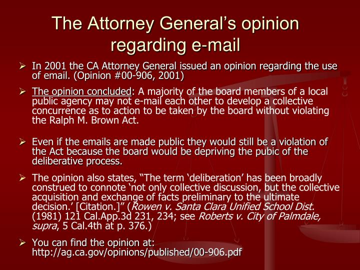 The Attorney General's opinion regarding e-mail