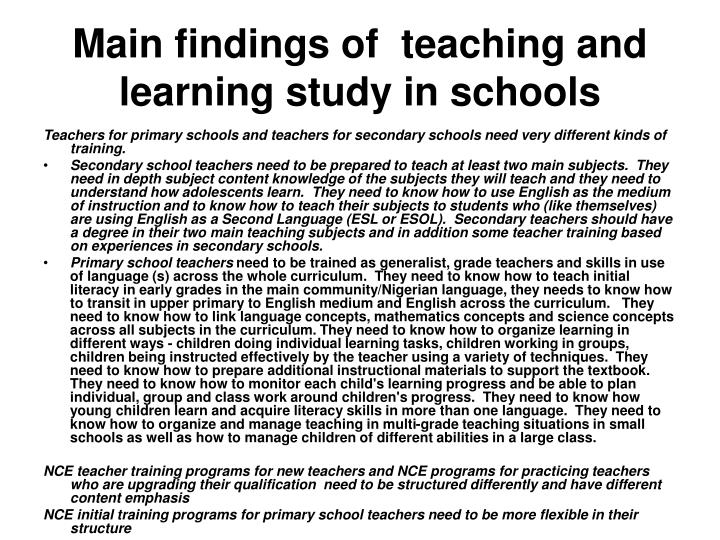 Main findings of  teaching and learning study in schools