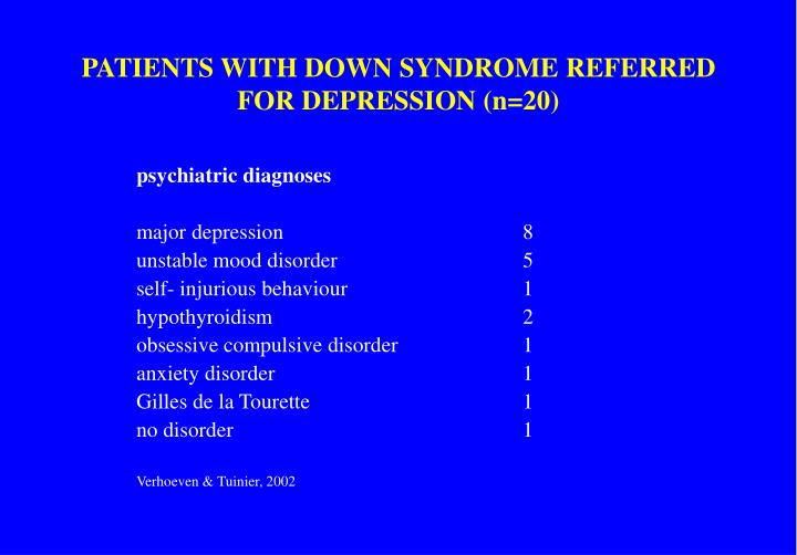 PATIENTS WITH DOWN SYNDROME REFERRED FOR DEPRESSION (n=20)