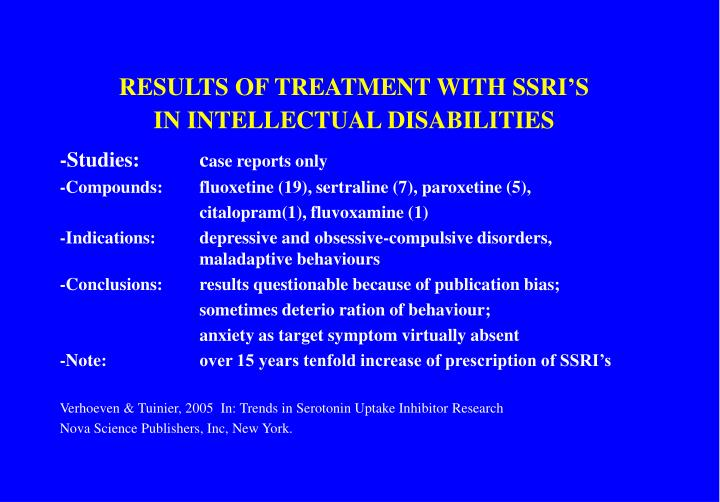 RESULTS OF TREATMENT WITH SSRI'S