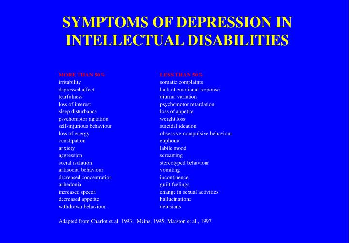SYMPTOMS OF DEPRESSION IN INTELLECTUAL DISABILITIES