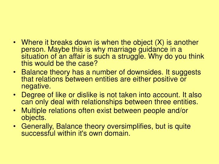 Where it breaks down is when the object (X) is another person. Maybe this is why marriage guidance in a situation of an affair is such a struggle. Why do you think this would be the case?
