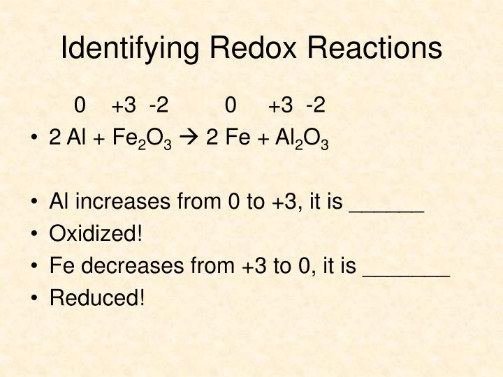 Identifying Redox Reactions
