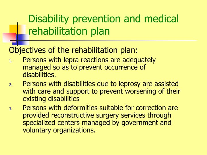 Disability prevention and medical rehabilitation plan