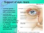 support of eye tears