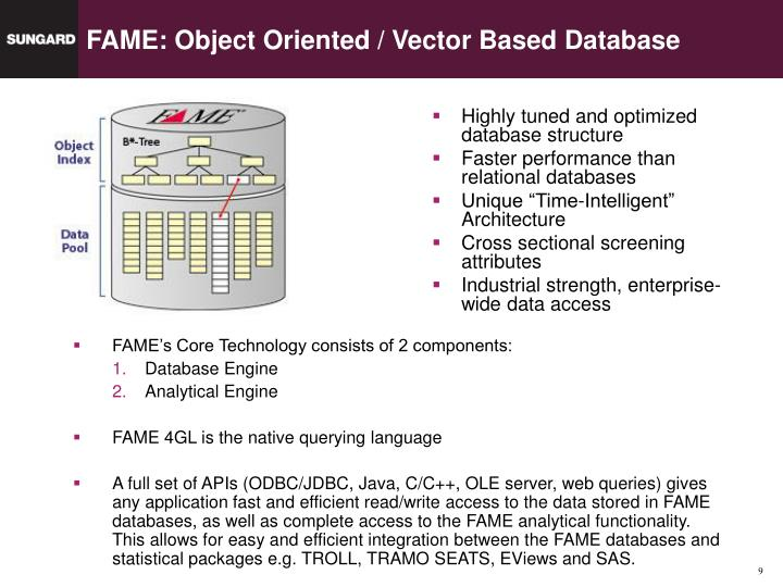 FAME: Object Oriented / Vector Based Database