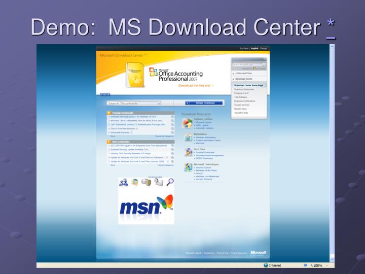 Demo:  MS Download Center