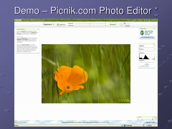 Demo – Picnik.com Photo Editor