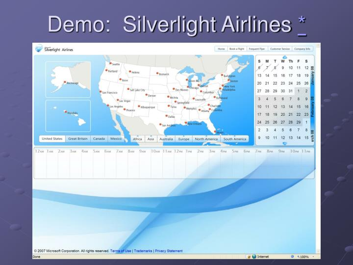 Demo:  Silverlight Airlines