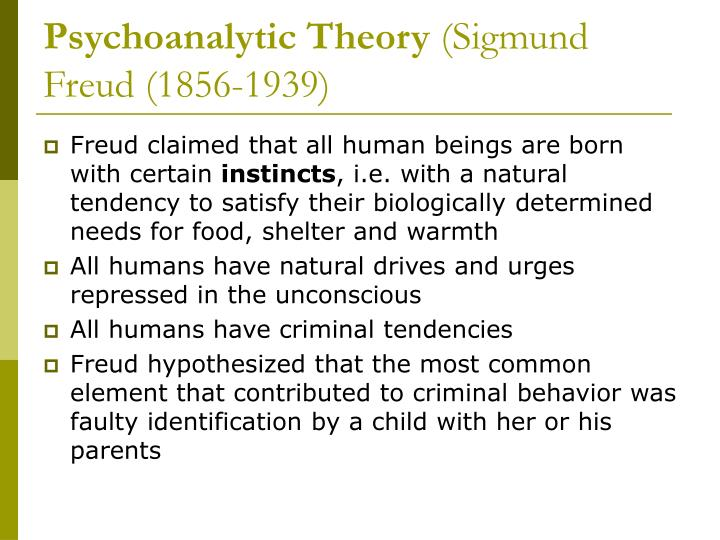 an analysis of the psychoanalytic theory by sigmund freud Sigmund freud and psychoanalysis the aim of this essay is to clarify the basic principles of freud's theories and to raise the main issues it is important to be clear about the meanings of certain terms that you may come across and throug.