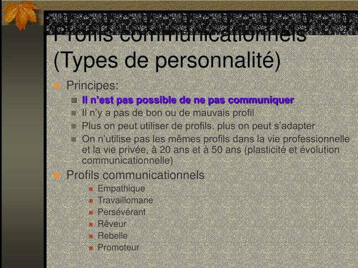 Profils communicationnels (Types de personnalité)