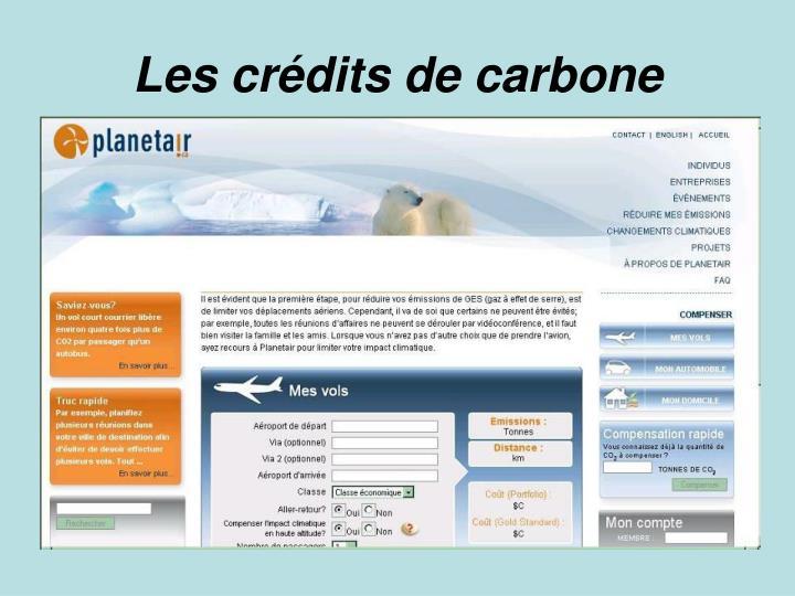 Les crédits de carbone