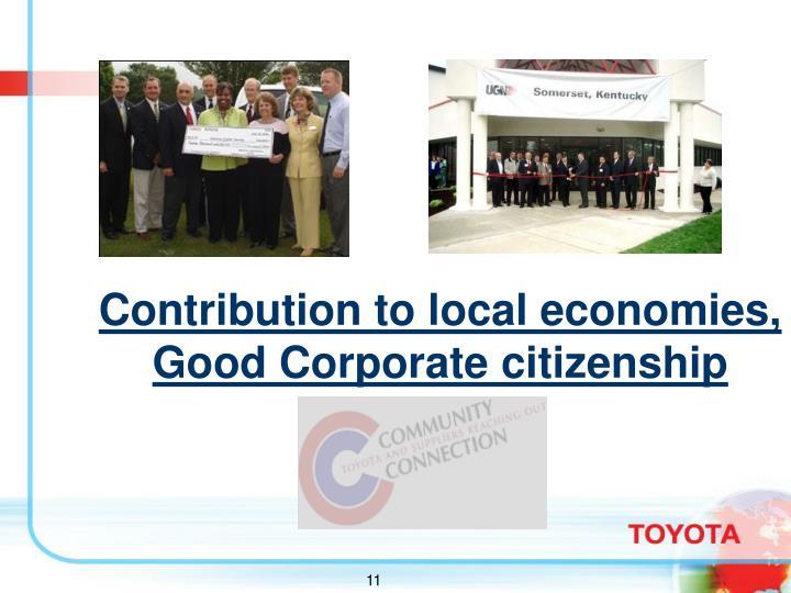 Contribution to local economies, Good Corporate citizenship