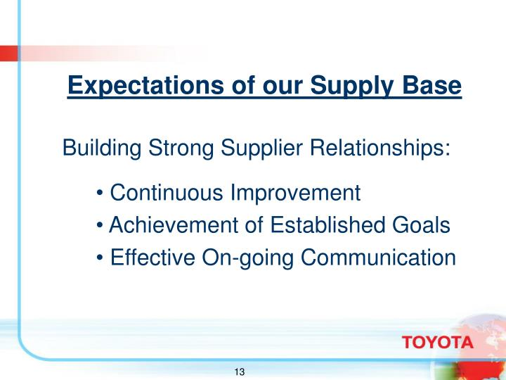 Expectations of our Supply Base