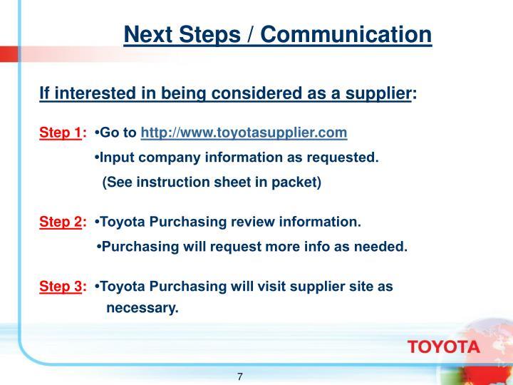 Next Steps / Communication