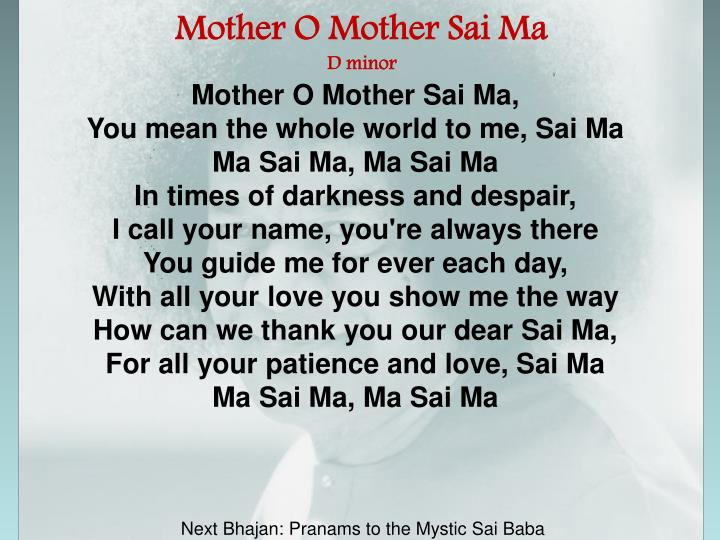 Mother O Mother Sai Ma