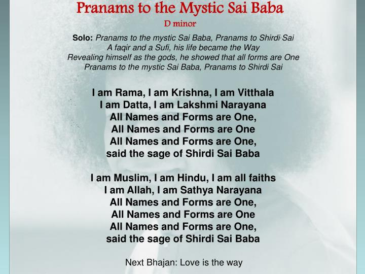 Pranams to the Mystic Sai Baba