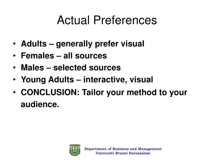 Actual Preferences