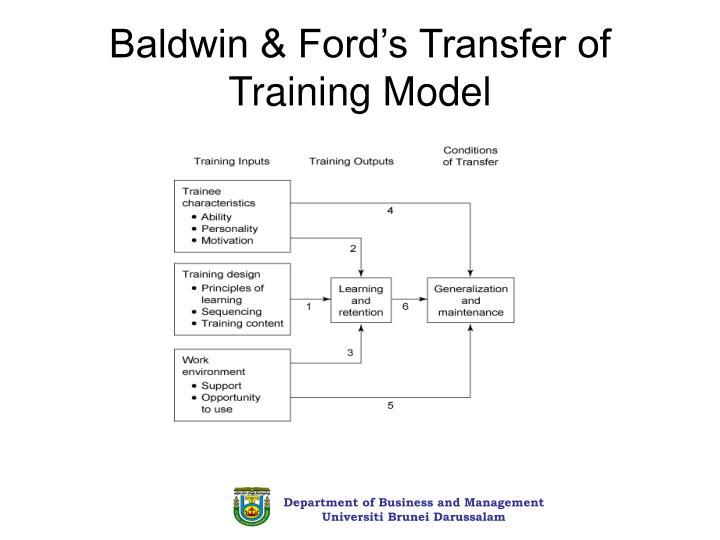 Baldwin & Ford's Transfer of Training Model