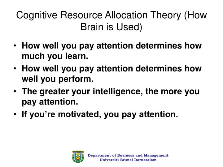 Cognitive Resource Allocation Theory (How Brain is Used)